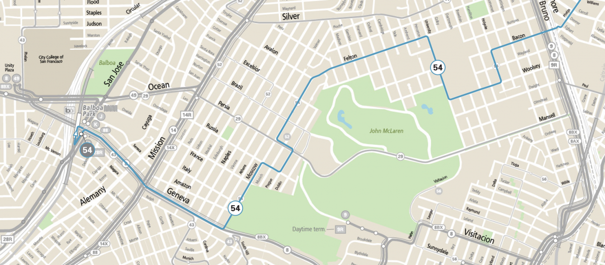 Map showing the 54 Felton route in the Excelsior and Outer Mission neighborhoods