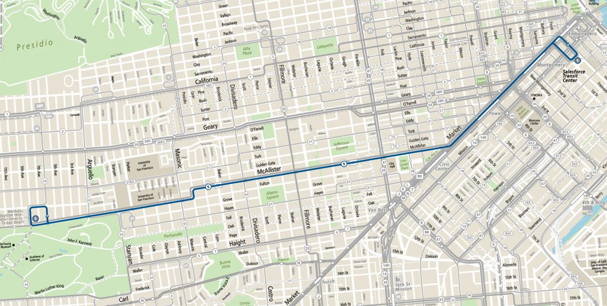 Map of 5 Fulton service between the Salesforce Transit Center and the Inner Richmond