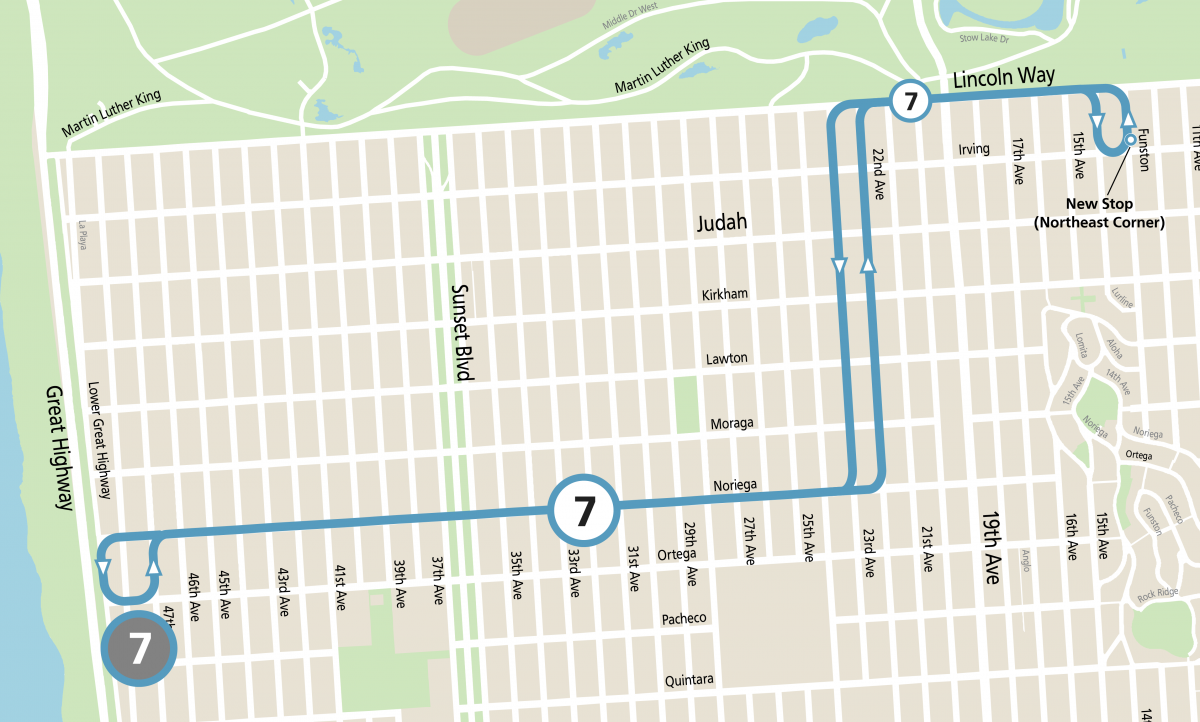 Map of 7 Noriega Community Shuttle service between the Inner Sunset and Ocean Beach