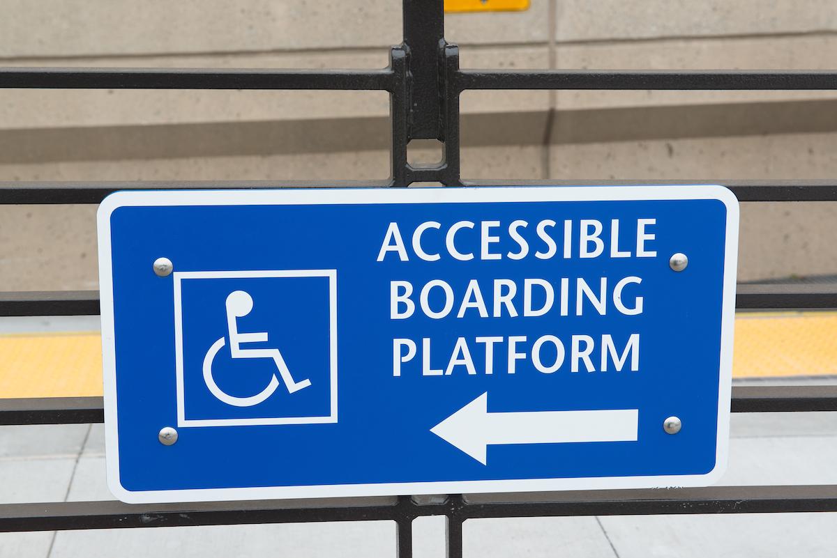 Photo: Accessible Muni Metro boarding platform placard