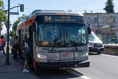 54 Felton bus serving the Bayview and several other equity neighborhoods from Hunters Point to Daly City BART