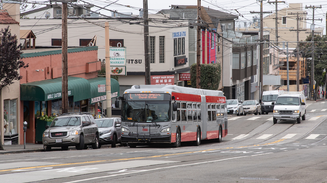 Image of an L Taraval bus shuttle substitution