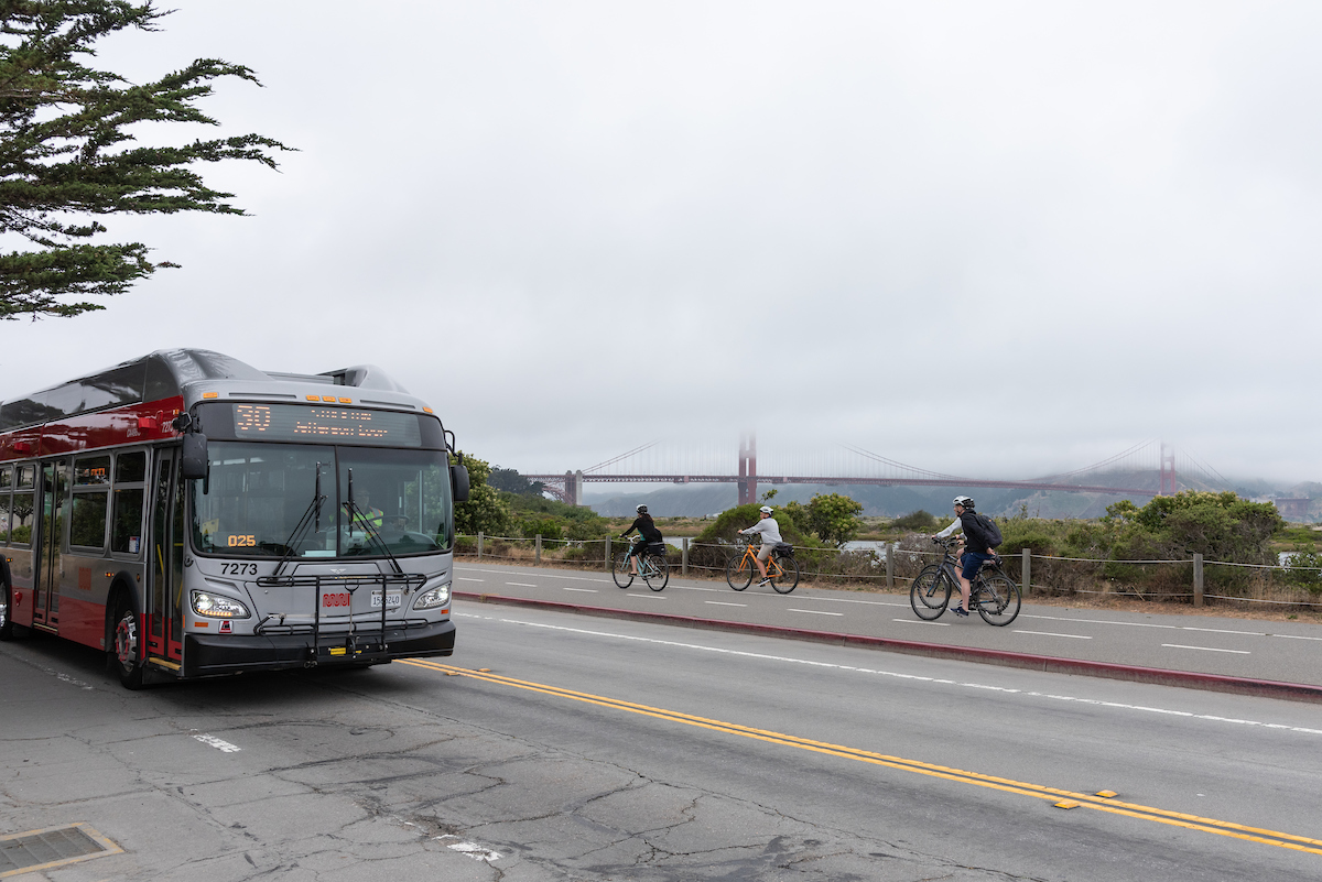 30 Stockton bus in service with Golden Gate Bridge in the background