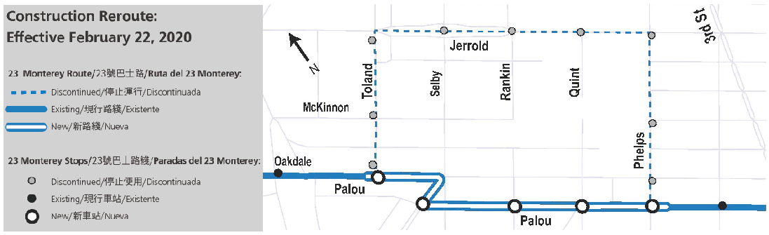Map of new route and stops for 23 Monterey