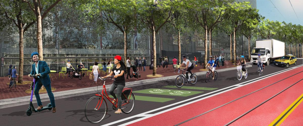 Better Market Street bike lane graphic