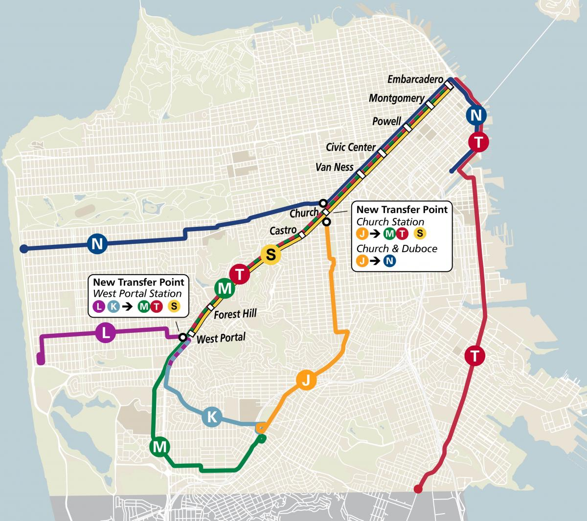 Map of new Muni Metro rail configuration.