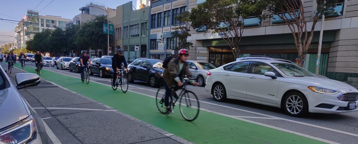 bikers in the bike lane