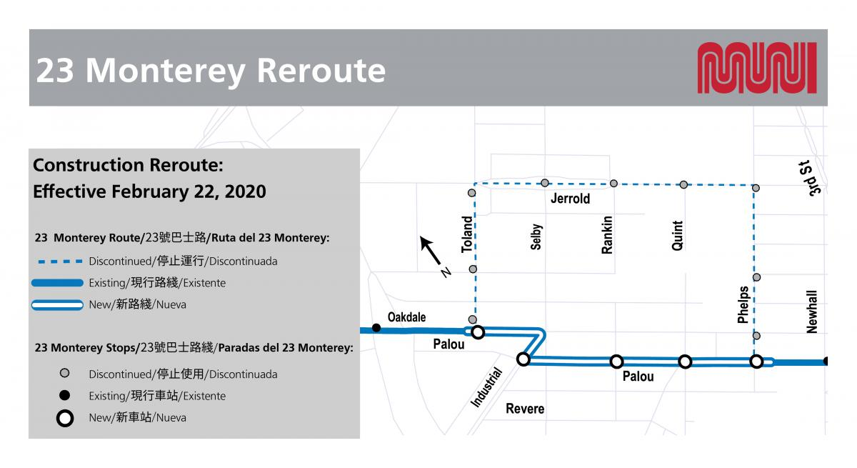 23 Monterey reroute map