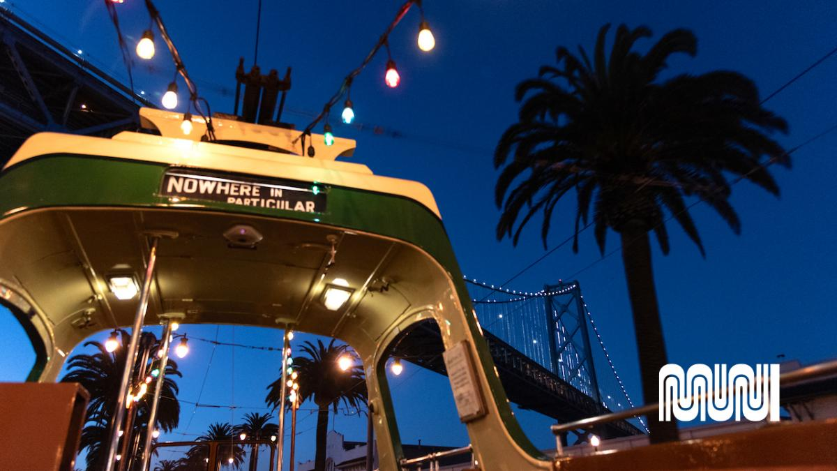 Image of interior of SF boat tram at night