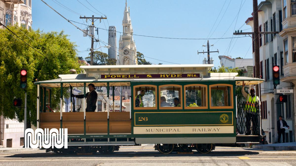 Image of Powell and Hyde street cable car ascending hill
