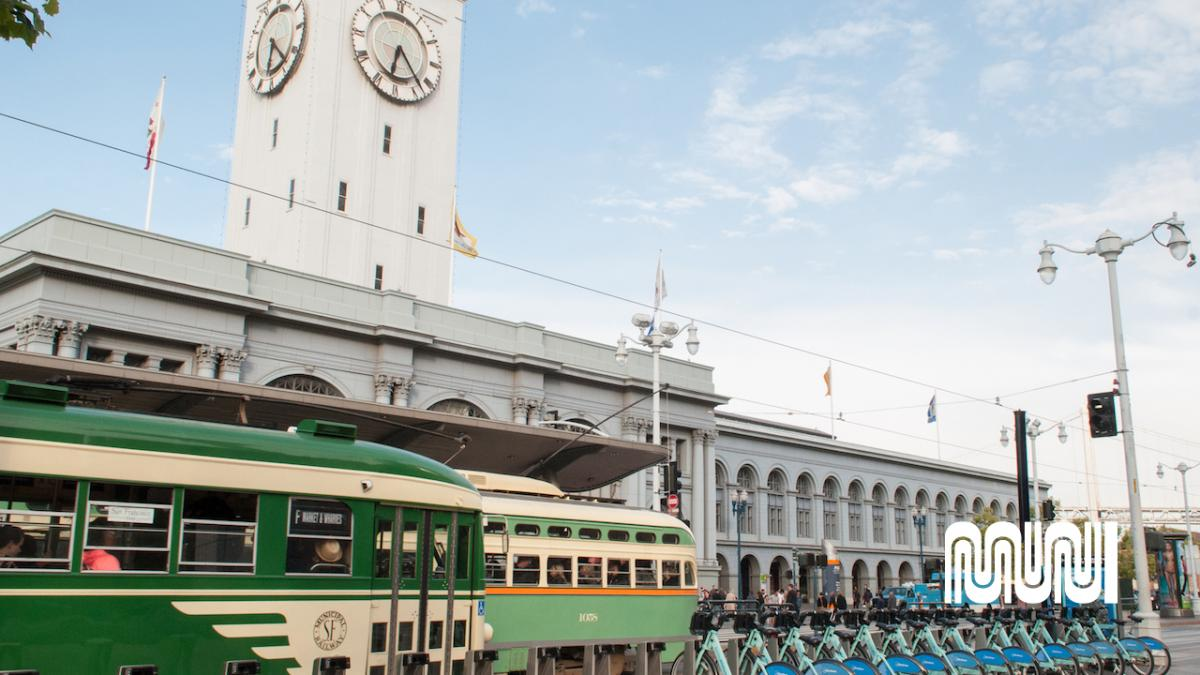 Image shows historic street car as part of the F line riding down the Embarcadero passing the Ferry Building