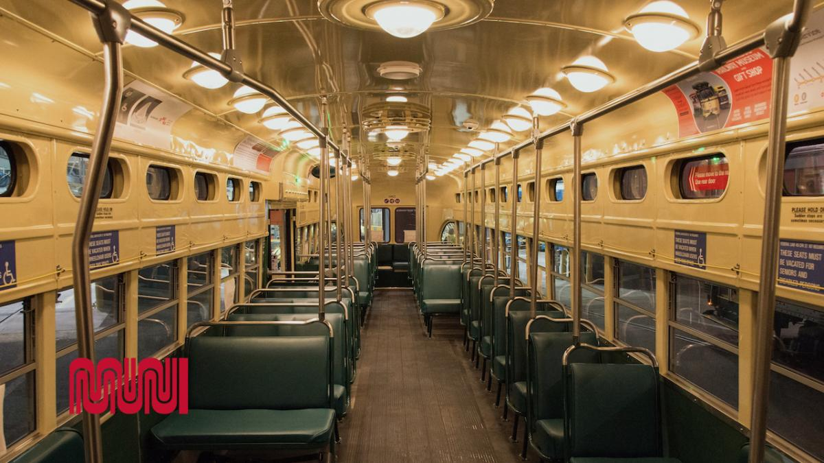 Image of interior of historic street car
