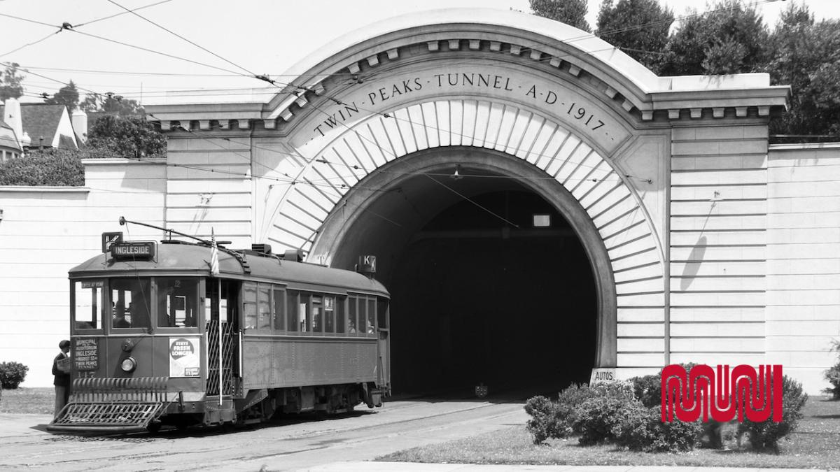 Historic image that shows K street car emerging from Twin Peaks tunnel