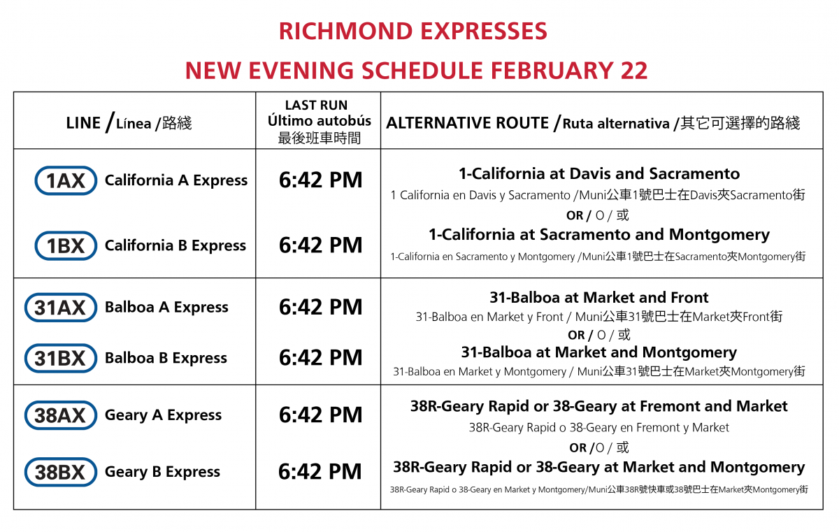 Richmond Expresses new evening schedule