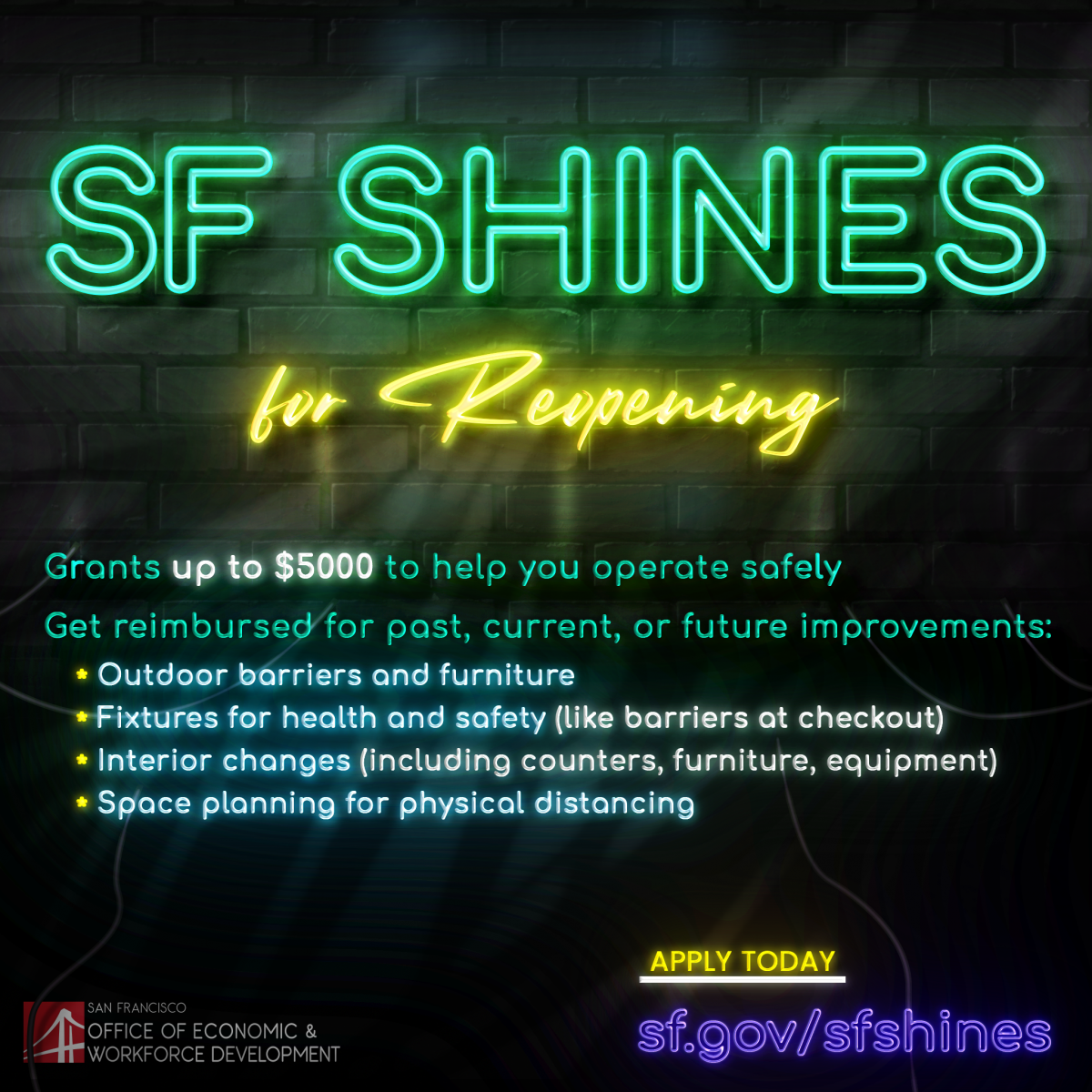Graphic for the SF Shines program depicting program information