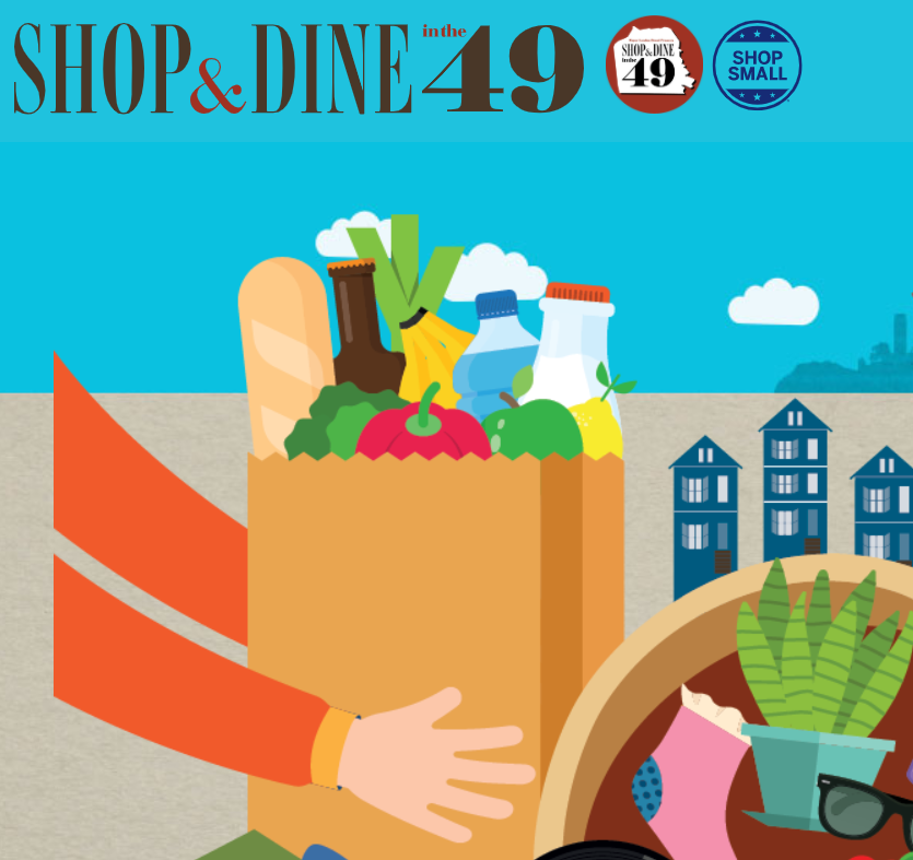 Banner for Shop and Dine in the 49 program