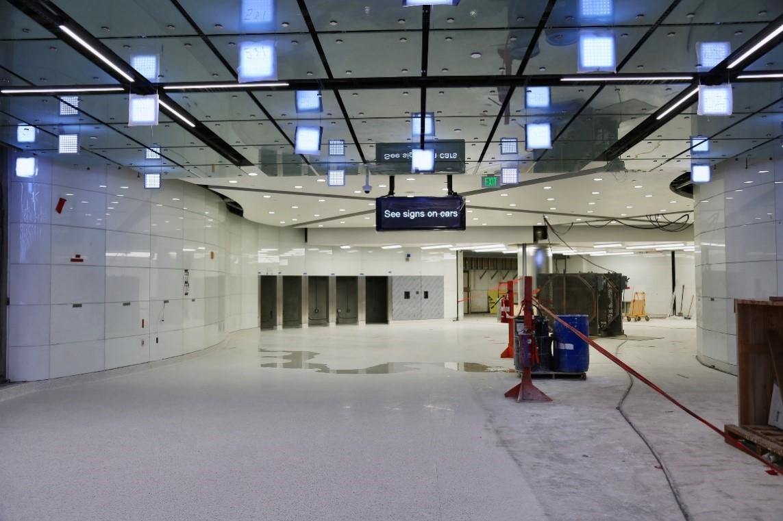 Floors, ceiling panels, finishes andcolor-changingLED light art installation byErwinRedl