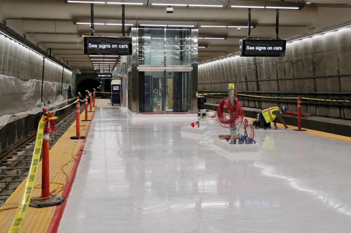 The platform at the future Union Square station