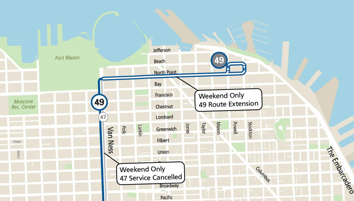 Map showing the 49 extension that covers the northern segment of the 47 between North Point and Fisherman's Wharf on weekends