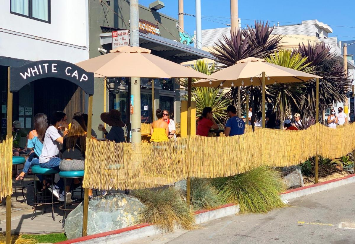 The White Cap shared space with people eating in the Outer Sunset.