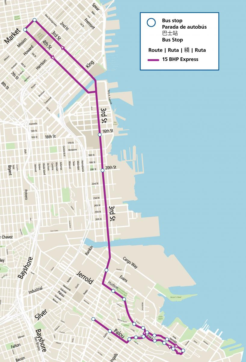 Map of new 15 Bayview Hunters Point Express route, the purple line from Bayview to Downtown shows the new route making stops east of 3rd Street before heading inbound via 3rd Street and on 4th Street in the outbound direction.