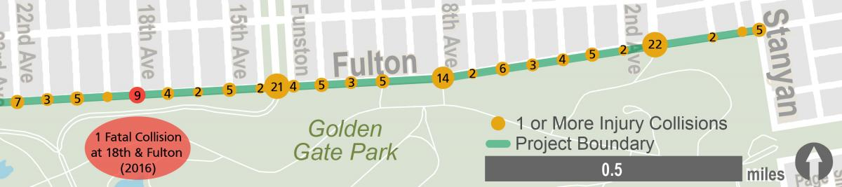 Map of collision locations on Fulton between 22nd Avenue and Stanyan.