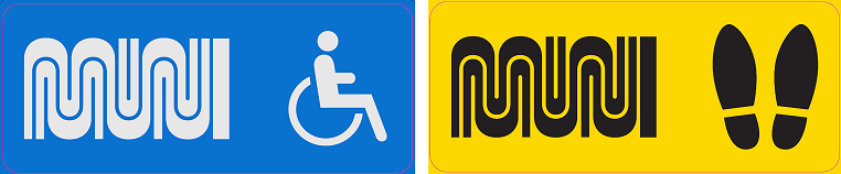 ADA and non-ADA Pavement decal markings for physical distancing at bus stops on Market Street.