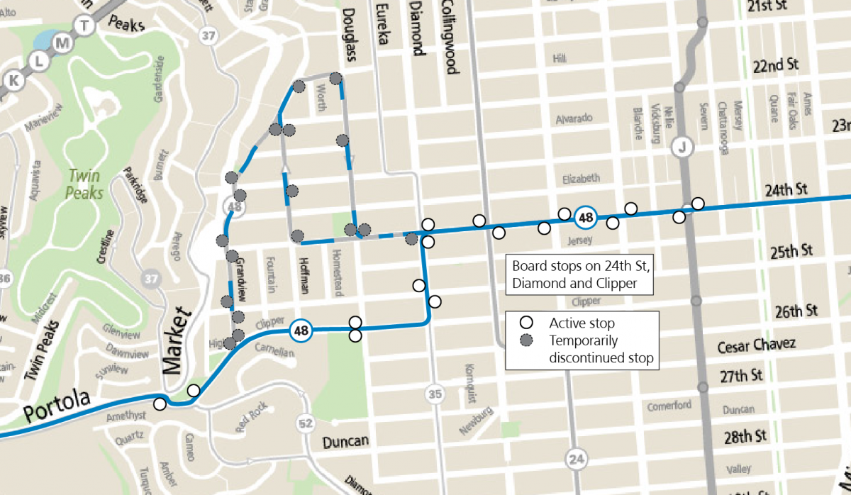 Map of 48 reroute through Diamond Heights and Noe Valley. From 24th St going west, the reroute will go south on Diamond St, west on Clipper St to Portola Drive. From Portola Drive going east, the reroute will turn onto Clipper St, north on Diamond St and right onto 24th St.