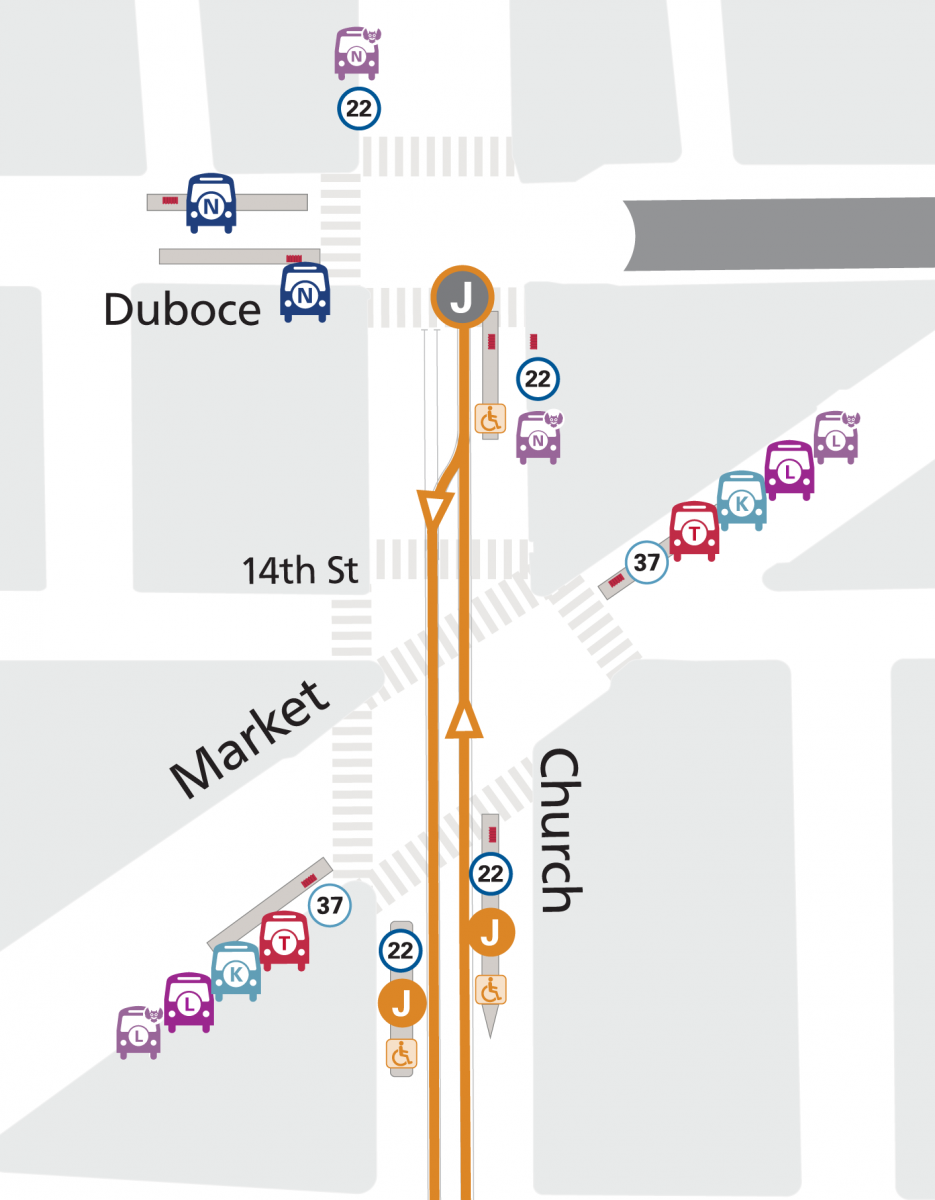 Map of stop changes for the J Church, 22 Fillmore, N Bus and N Owl near Church & Market