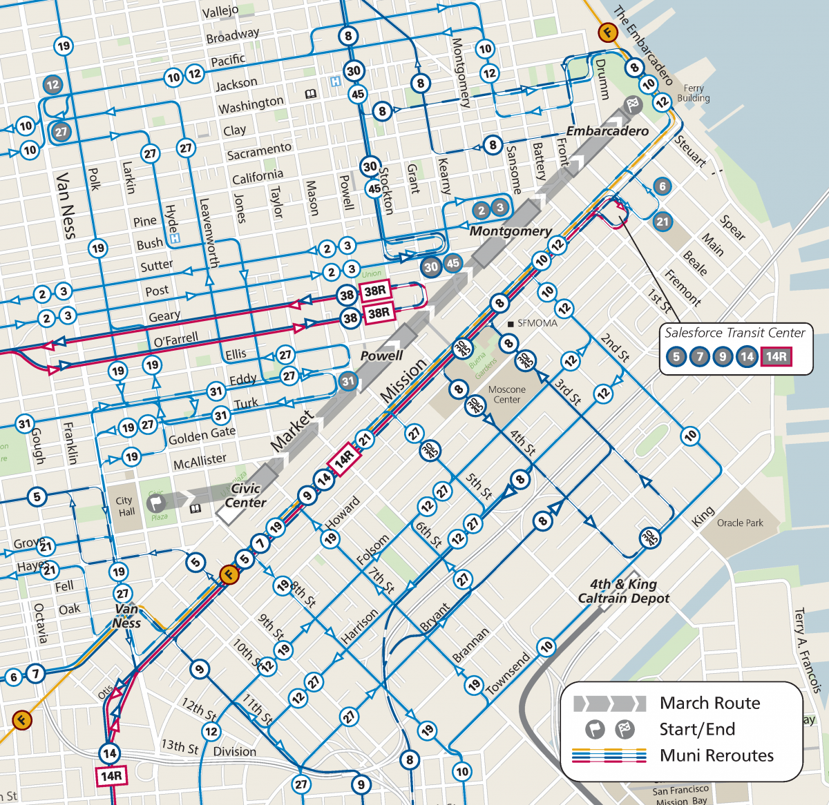 Map of Muni Reroutes for Walk for Life 2020