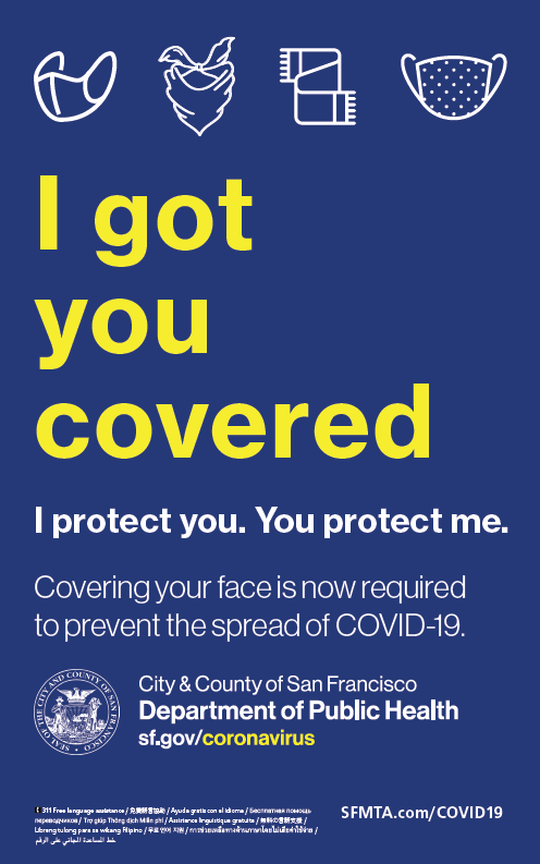 Sign describing the requirement to wear face masks or coverings.