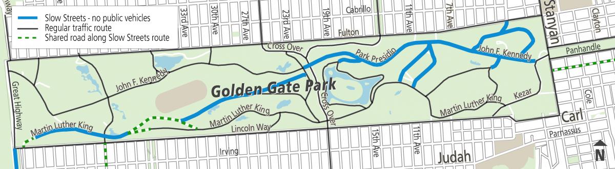 Map of Golden Gate Park Slow Streets program