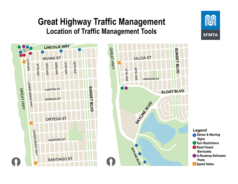 """Map of traffic management tools: at southbound Upper Great Highway and Lincoln, """"Road closed"""" and """"Detour"""" signs; at southbound Lower Great Highway and Lincoln, white delineators; at eastbound Lower Great Highway and Lincoln, """"No Right Turn"""" sign; at southbound Upper Great Highway and Lincoln, """"Detour on Left"""" sign; at eastbound Lincoln at La Playa and MLK Jr. Drive, """"No Right Turn"""" sign; at southbound Lincoln at La Playa and MLK Jr. Drive, """"Road Closed to Through Traffic"""" signs; at eastbound Lincoln and 37th Avenue, """"Detour on Right"""" sign; at eastbound Lincoln and 41st Avenue, """"Detour straight ahead"""" sign; at eastbound Lincoln and 45th Avenue, """"Detour straight ahead"""" sign; at southbound Lincoln and 48th Avenue, """"Road Closed the Through Traffic"""" signs; at eastbound Lincoln and La Playa, """"Detour straight ahead"""" sign; at northbound Skyline Boulevard, three """"Great Highway Closed / Used Sunset Boulevard straight ahead"""" signs; at eastbound Sloat and 47th Avenue, two """"No Left or U-Turn"""" signs and yellow safe-hit posts; at Lower Great Highway and Irving, speed table; at Lower Great Highway and Ortega, speed table; at Lower Great Highway and Santiago, speed table; at Lower Great Highway and Ulloa, speed table."""