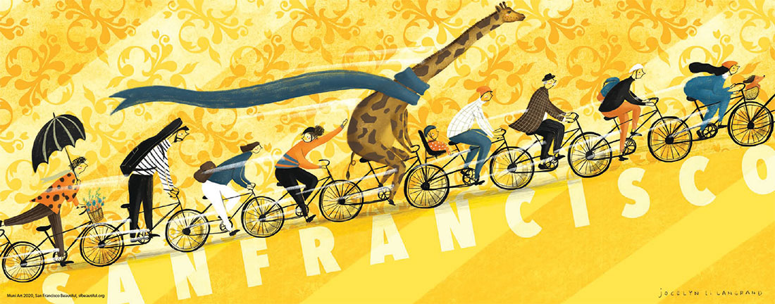 "Image of Jocelyn Li Langrand's illustration of people and a giraffe riding bikes up a hill with ""San Francisco"" written upon it"