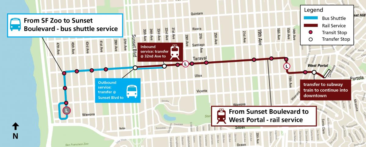 A map of the L Taraval service changes including transfer points and the segments where bus and train will run respectively