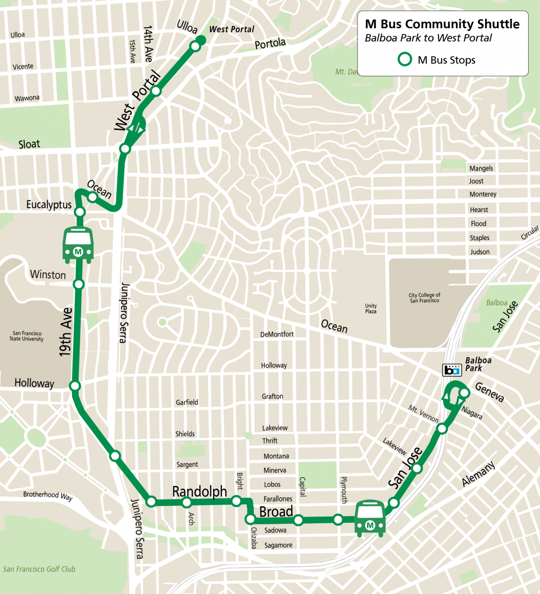 Map of M Bus service between the Balboa Park and West Portal