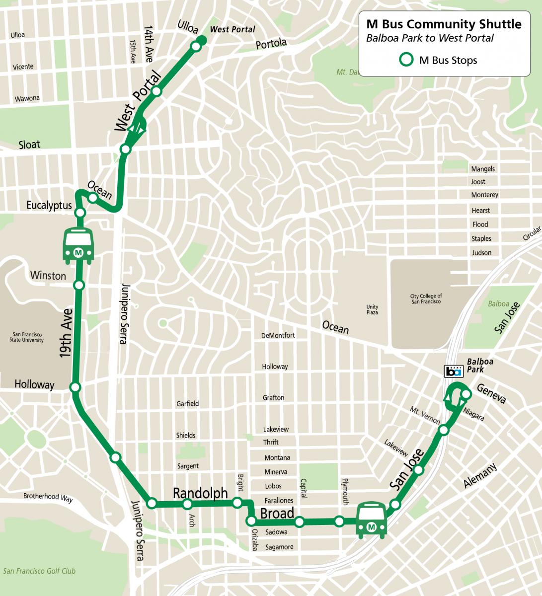 M Bus Community Shuttle Route