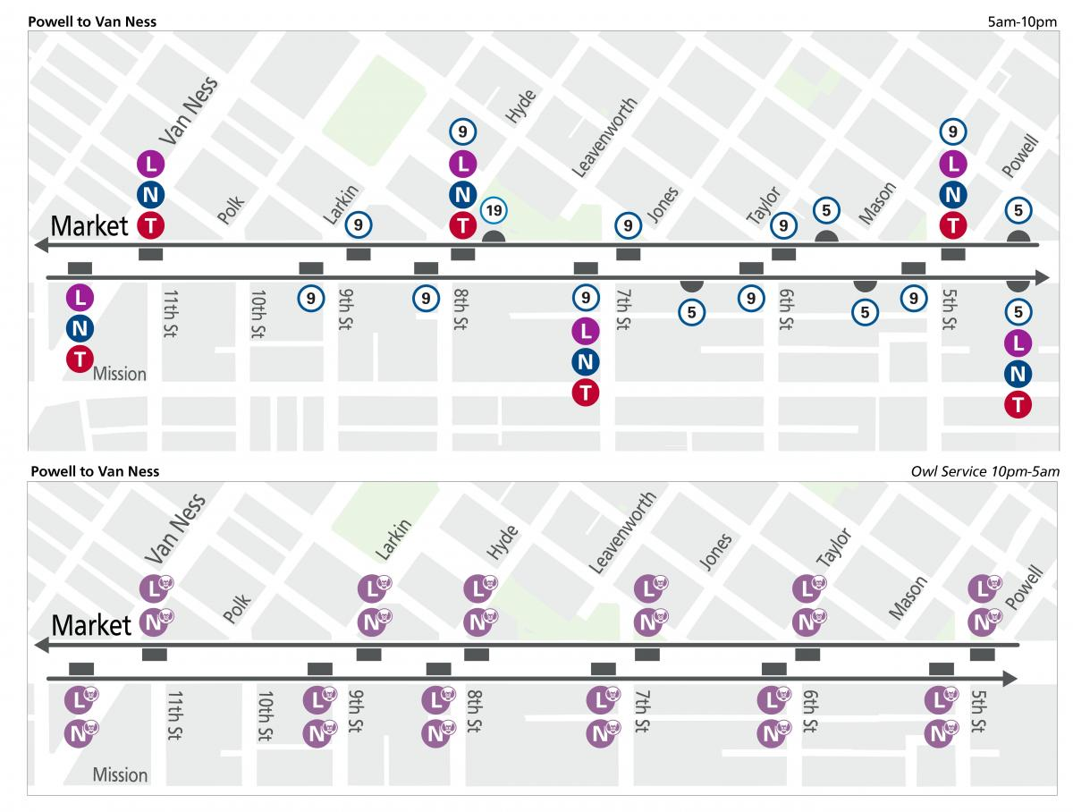 Wayfinding Muni stop maps for day and owl service from Van Ness to Powell.