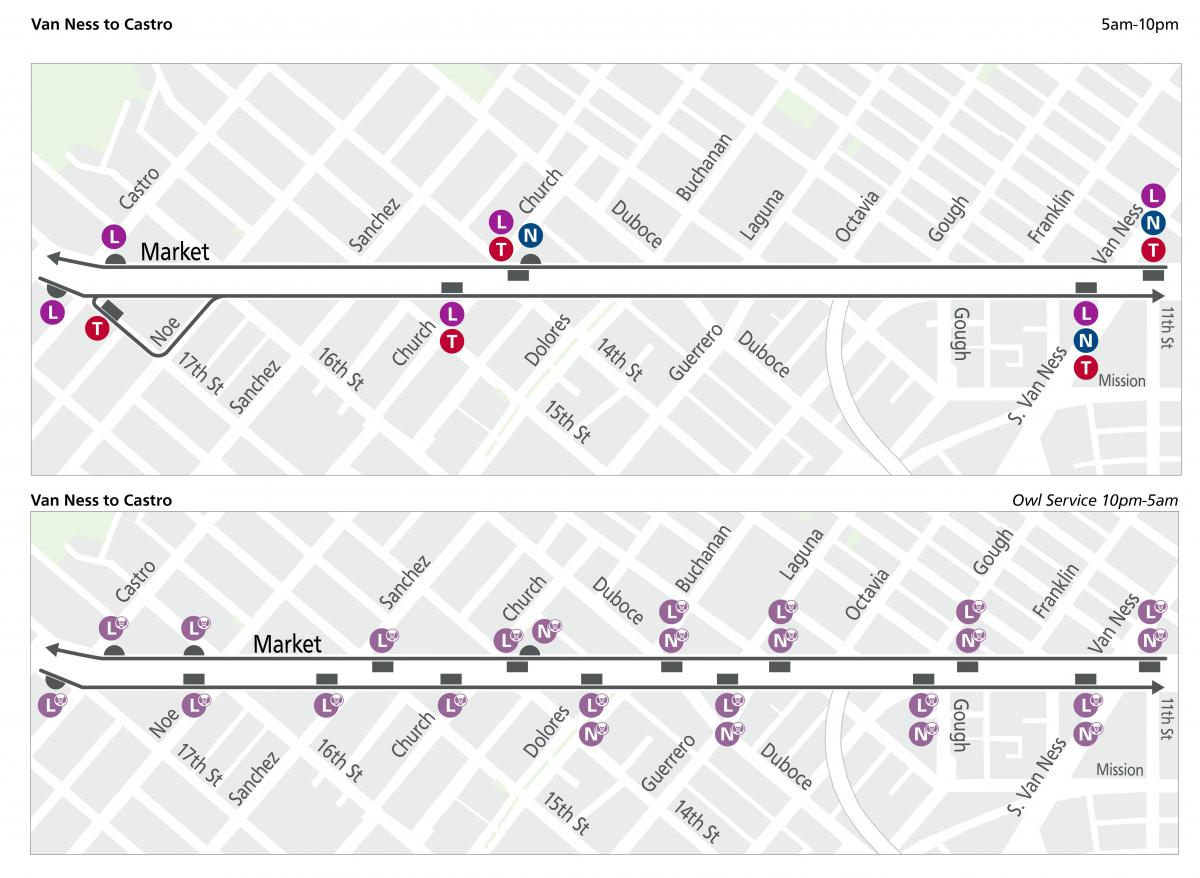 Wayfinding Muni stop maps for day and owl service from Castro to Van Ness.