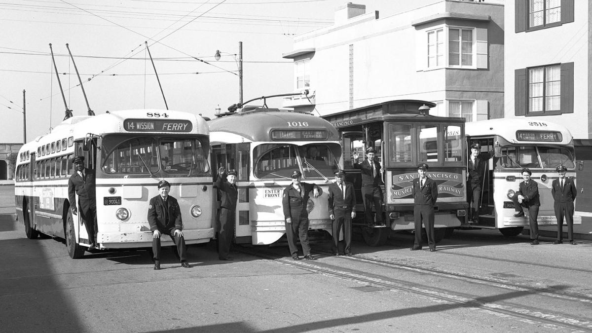 A lineup of Muni vehicles and Muni Operator of the Month awardees in 1963.
