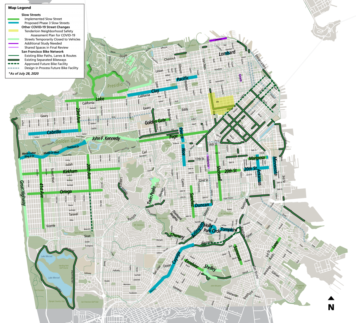 Slow Streets, Shared Spaces and Bike Network Map