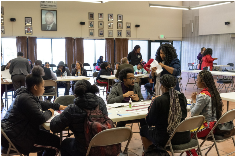 Photo of SFMTA staff moderating workshop and feedback session with youth in the Bayview