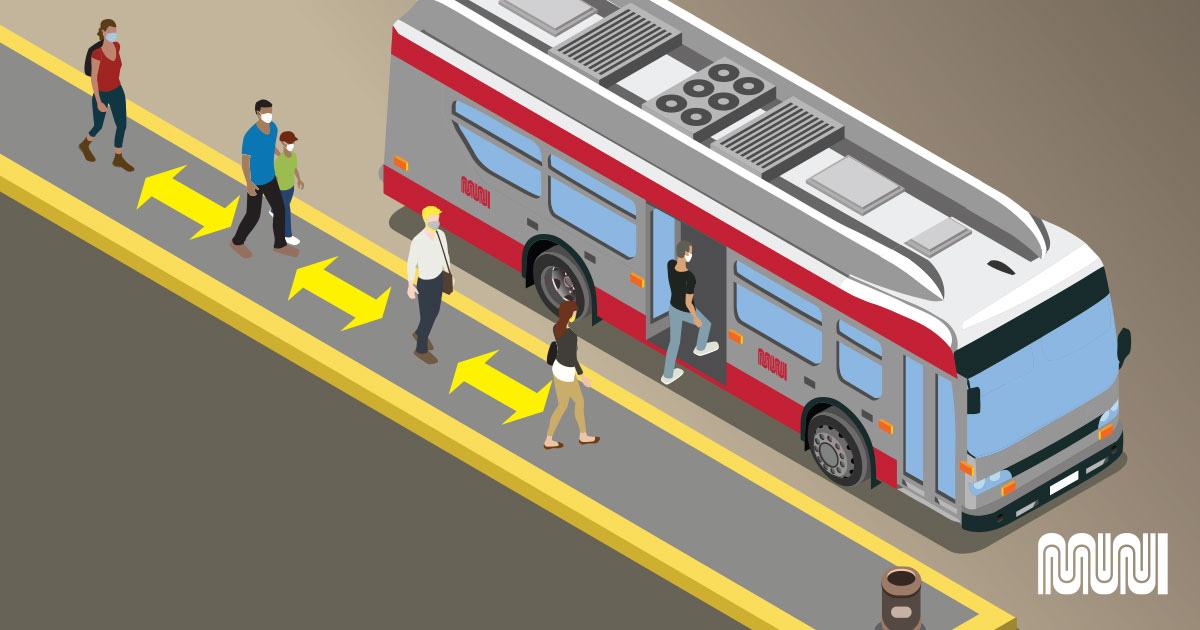 Image depicting rear door boarding on Muni bus.