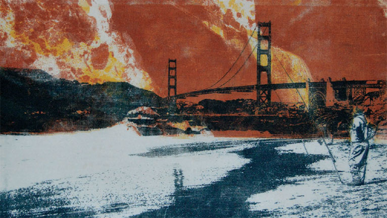 Stylized image of a photo from Baker Beach with a fisherman in the foreground and the Golden Gate Bridge beyond
