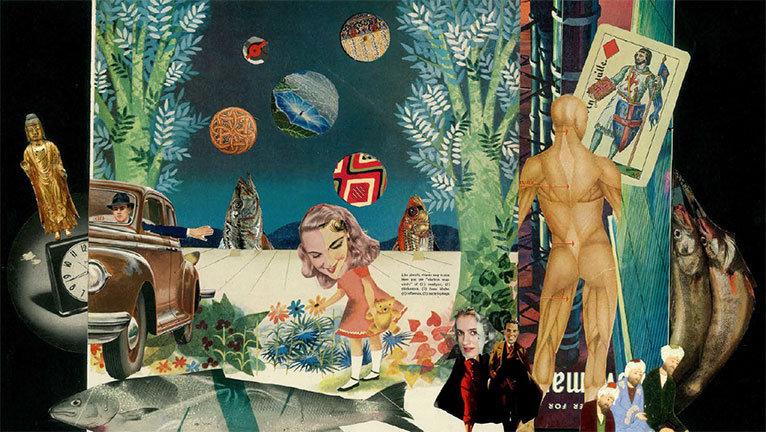 Collage of images including a car and its driver, a golden figurine, trees, and other objects