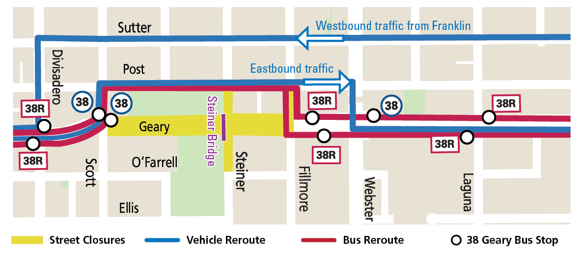 Map of reroutes and bus stop changes during the bridge removal work