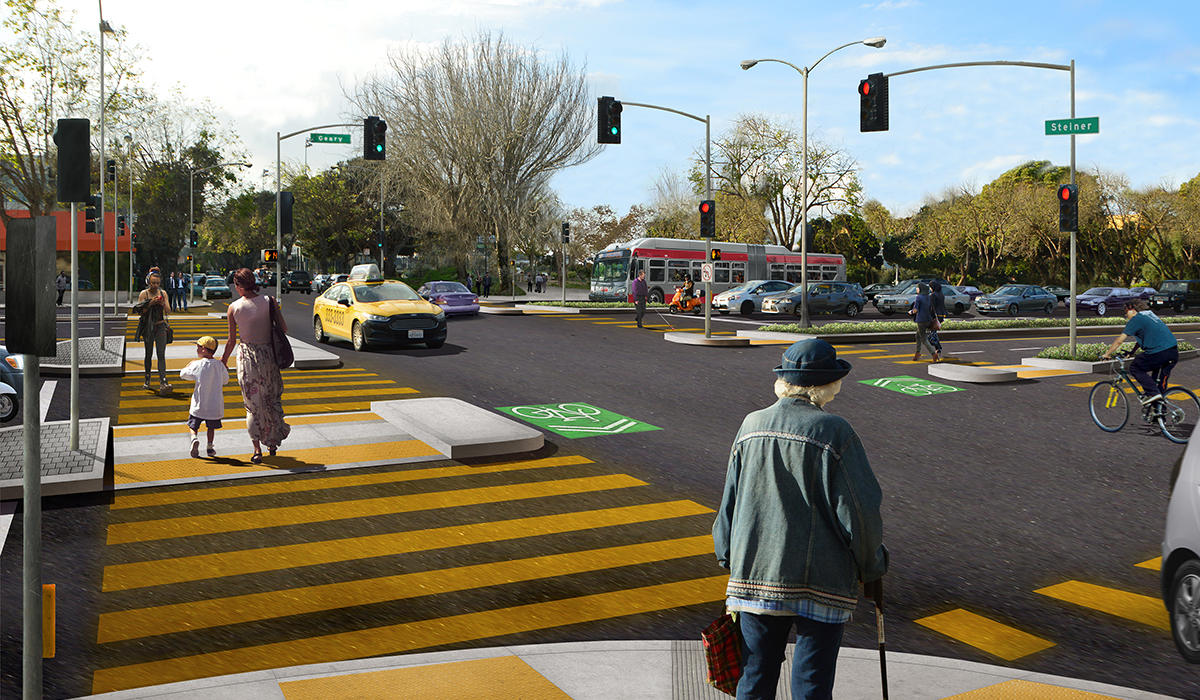 Rendering of the future Geary and Steiner intersection, with the Steiner bridge removed and improved crosswalks and medians