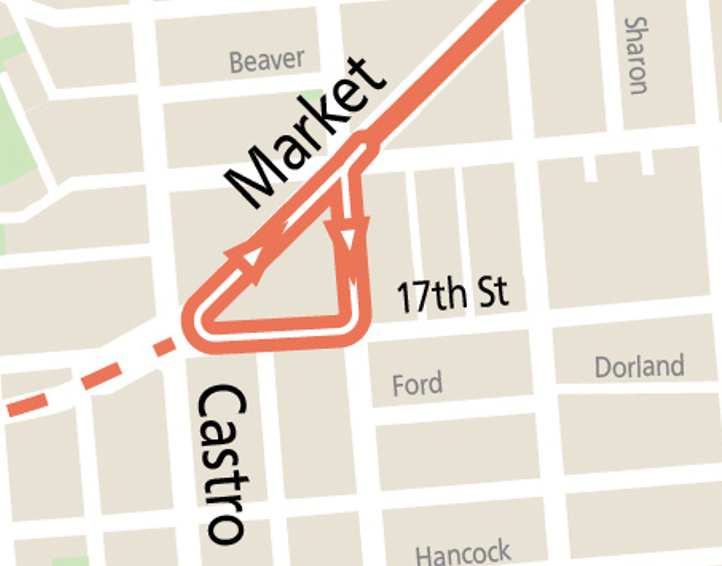 Map showing Castro terminal loop for the T Bus: From Market St outbound, loop starts left on Noe, right on 17th St, right on Market to inbound route.