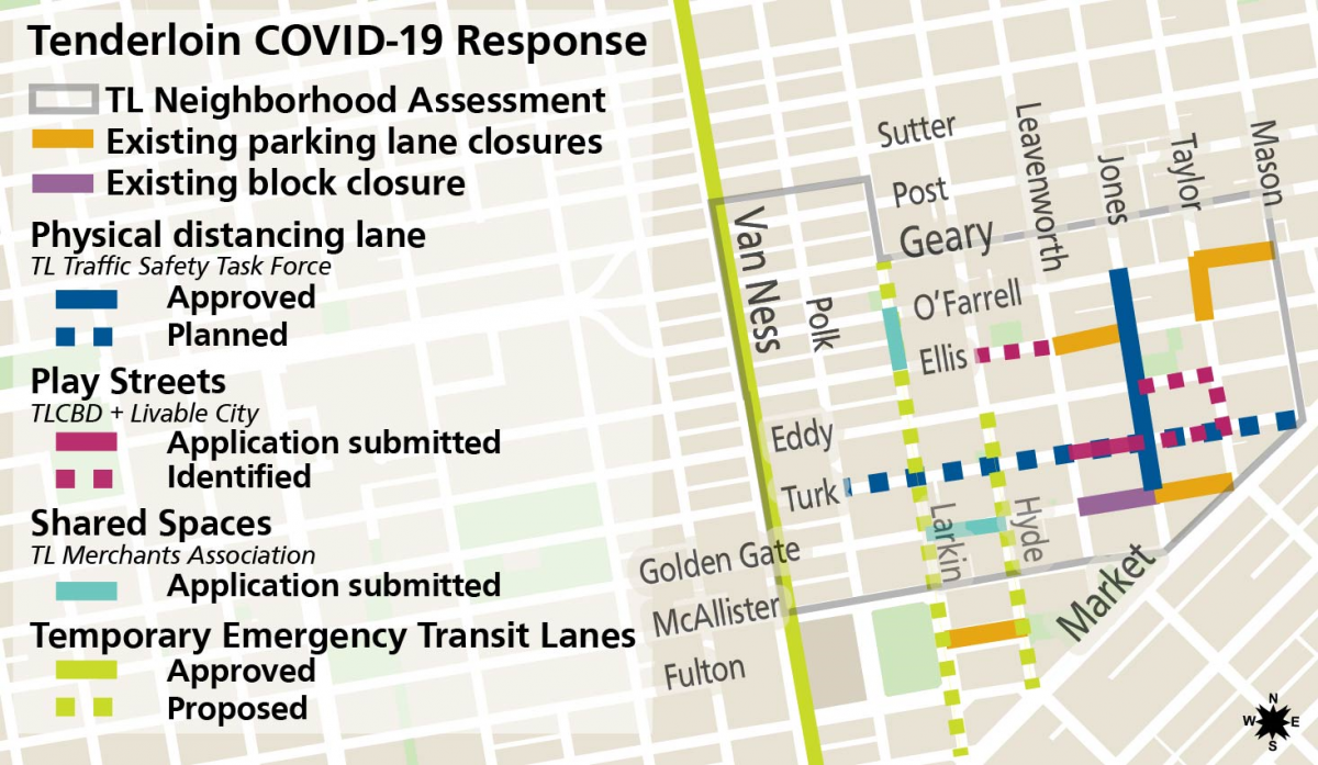 Map of Tenderloin Street Treatments in Response to COVID-19
