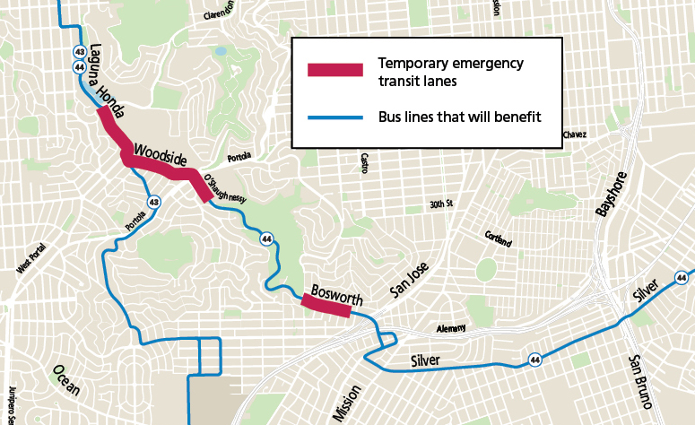 Map of temporary emergency transit lanes on Laguna Honda, Woodside, O'Shaughnessy and Bosworth